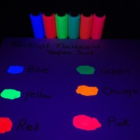 DirectGlow Brand Assorted Blacklight Reactive Fluorescent Tempera Paints, 6 Pack 2oz