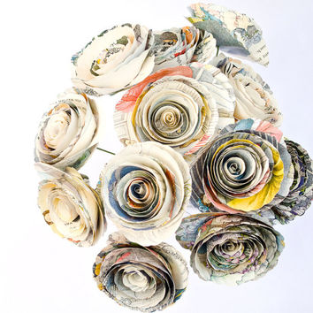 Cinderella Nursery Decor or Wedding Bouquet made from Illustrated Children's Book - Book Page Paper Flowers for Princesses and Bride