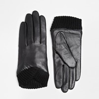 ASOS Leather Gloves With Knitted Cuff And Touch Screen Detail at asos.com
