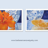 ART PRINT SET Watercolor Painting, 8x10 Blue Ming Vase Home Decor, Orange Fruit Daylily Flower Wall Art Print, Art Gift, Barbara Rosenzweig