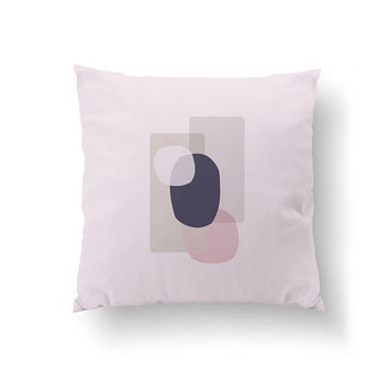 Abstract Shapes, Home Decor, Watercolor Pillow, Decorative Pillow, Purple Pink, Shades of Purple, Minimal Art, Throw Pillow, Cushion Cover