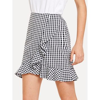 Black Gingham Above Knee A-line Skirt