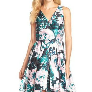 Adrianna Papell - 41911890 Floral Mikado Fit and Flare Cocktail Dress