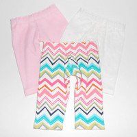 American Girl Doll Clothes 3 pair Leggings Pink and Chevron Stripe and Ivory with Embroidered Flowers