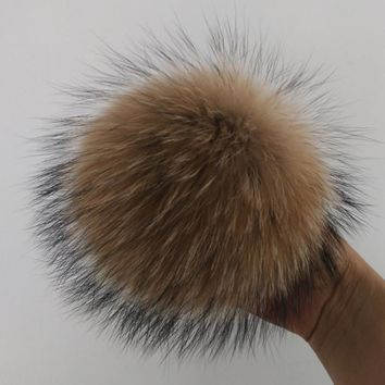 15cm Fur pompom ball Faux Raccoon Mink Fox Fur Ball Fur Winter Pom Poms ball For Shoe Bag Hat Fur Cap Accessories