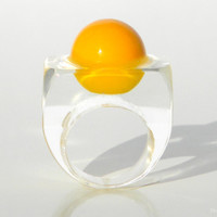 Handmade Modern Resin Ring, in Yellow