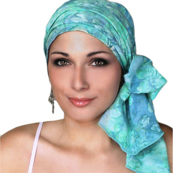 Turquoise Hibiscus Turban, Head Wrap, Alopecia Scarf, Chemo Hat and Scarf Set