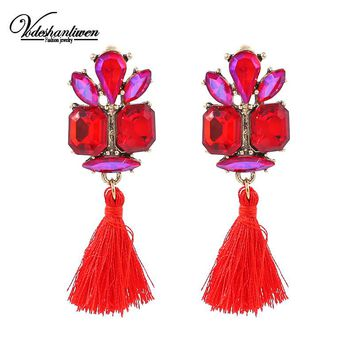 Vodeshanlien Hot colour Glass Tassels Drop Earrings For Women Wedding Jewelry Charm Fringed Dangle Earrings Statement Bijoux