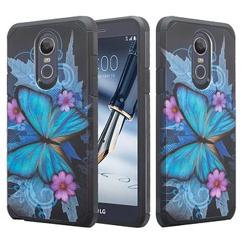 LG Stylo 4, Q Stylus Case, Slim Hybrid Dual Layer [Shock Resistant] Case Cover for LG Stylo 4 - Blue Butterfly