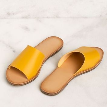 Barbara Vegan Mustard Slide Sandals