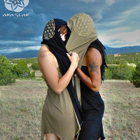 Hydra Hood Scarf: Soft Bamboo Organic Cotton Jersey Reversible Hooded Scarf with Gold Flower of Life Screen Prints.