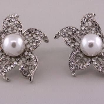Natalie Rhinestone and Pearl Statement Earrings