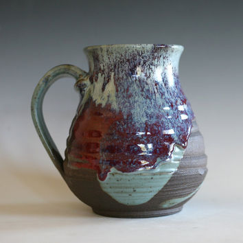 EXTRA LARGE 32 oz Coffee Mug, handthrown ceramic mug, stoneware pottery mug, unique coffee mug