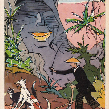 Postcard Drawing by V. Alfeyevsky for Vietnamese Fairy Tale -- 1960, Izogiz Publ.