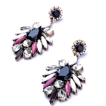 Flower Drop Earrings With Rhinestone