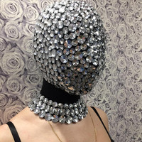 Mask In Rhinestones, Rave Mask, Festival Mask, Party Mask, Rave Clothing, Face Mask, Steampunk Mask, Fetish Mask, Cyberpunk, EDC, EDM, Masks
