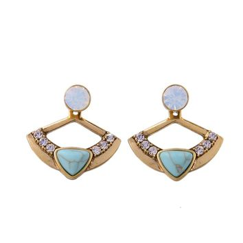 Womens Earrings Ethnic Gold Alloy Metal Triangle Composite Stone Rhinestone Separated Post Ear Studs Geometrical Earring Jewelry
