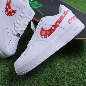 Sale Supreme x LOUIS VUITTON LV x Nike Air Force 1 White Red Sport Shoes Sneaker