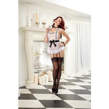 4 pc Lace Apron w/Attached Elastic Garters, G-String, Cap, Neck Ribbon & Tickler Black/White O/S