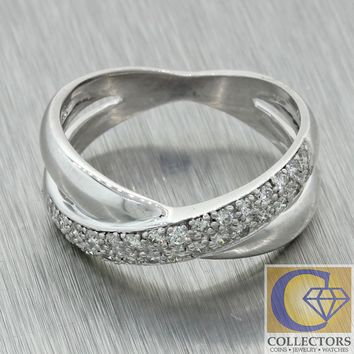 Vintage Estate 14k White Gold .30ct Pave Diamond Criss Cross Crossover Band Ring