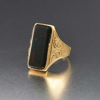 Bold Antique Gold and Bloodstone Ring, C 1890s