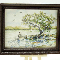 Miniature Art Small Landscape Artisan Watercolor Painting Nature Lover Original Framed Artwork Affordable Home Décor Tree Meadow Country
