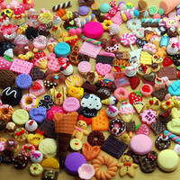 Mix Diy Starter Assortment Kit: 50 PCS Cute Deco Sweets Cabochon Resin Flat back -Nail Art Miniature Jewelry Making Dollhouse Supply (AK.SW)