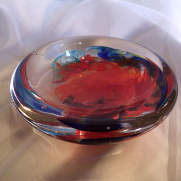 Paperweight Bowl, Hand Blown Glass Art.  One of a Kind