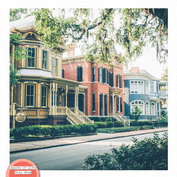 Savannah photography print, Savannah Georgia wall art prints, southern architecture, rustic decor, old buildings, square prints, Savannah GA