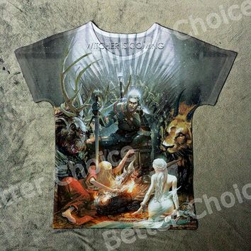 Track Ship+Vintage Retro Cool Rock&Roll Punk T-shirt Top Tee Horrible The Witcher 3 is Coming Wild Hunt Geralt of Rivia 1087