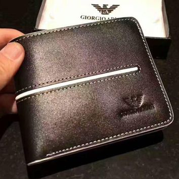 PEAPUF3 GIORGIO ARMANI Mens Brown Leather Card Holder Wallet