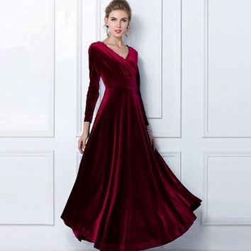 Autumn Winter Dress Women 2018 Casual Vintage Velvet Dress Long Sleeve Plus Size 3XL Elegant Sexy Long Party Dress ukraine