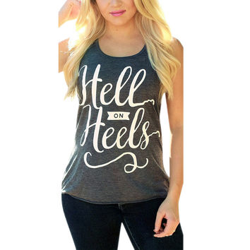 Women New Tank Tops Sleeveless Round Neck Loose T Shirt Ladies Vest Tank Tops T Shirt Tees Fitness Letter Print Tank SN9