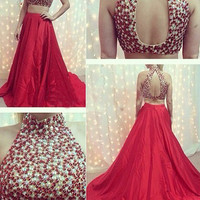 Two Piece Prom Dresses,Red Prom Dress,Long Evening Dress