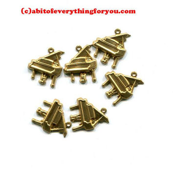 piano charms musical instruments metal music pendant gold brass 13mm x 15mm 6 pc