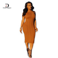 Fashion Women Sweater Dress Sleeveless Bodycon Pullover Sexy Round Neck Bandage Slim kim kardashian Dress