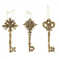 Metallic Electroplate Keys Ornament, Gold, 6-Inch, 3-Piece