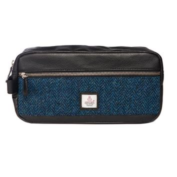 Harris Tweed - Dopp Kit - Toiletry Bag - Herringbone Blue