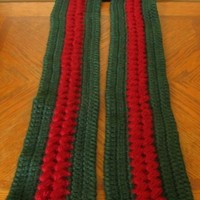 Red and Green Scarf - Textured Cluster Accent - Long 63 inches