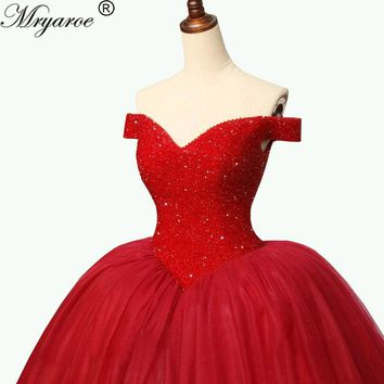 Mryarce Luxury Red Burgundy Wedding Ball Gowns Off The shoulder Sparkling Full Crystal Bodice Puffy Tulle Skirt Prom Dress