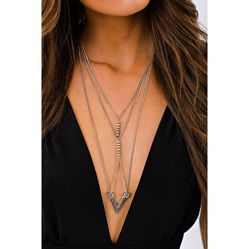 Lyric Multi Layer Necklace (Silver)