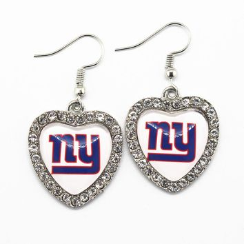 New Style 6pairs/lot Crystal Heart New York Giants Football Team Sports Earrings For Women Fashion Earrings Charms Jewelry
