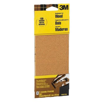 3M Garnet 3-2/3 in. x 9 in. 100 Grit Medium Grade Sand Paper (6-Sheets/Pack)-19037-20-CC - The Home Depot