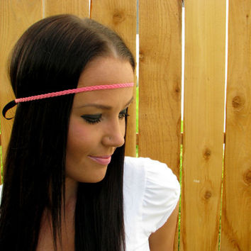 Bohemian Indie Hippie Chic Coral Peach Pink Braided Thin Headband Hair Band Girl Woman Wedding Accessories w/ Black Adjustable Ribbon Ties