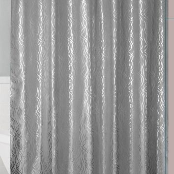 Grey/Silver Metallic Cadena de Plata Faux Silk Fabric Shower Curtain with Hooks