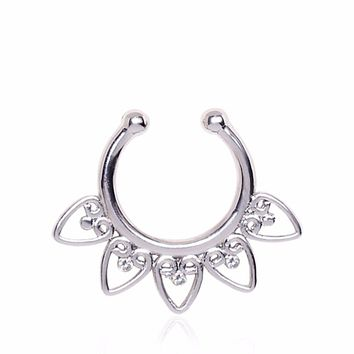 Ornamental Hearts Fake Septum Ring