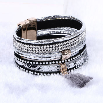 Rhinestone Crystal Charm Bracelets Tassel magnetic Bracelets&Bangles Bohemian Multilayer Leather Bracelet For Women