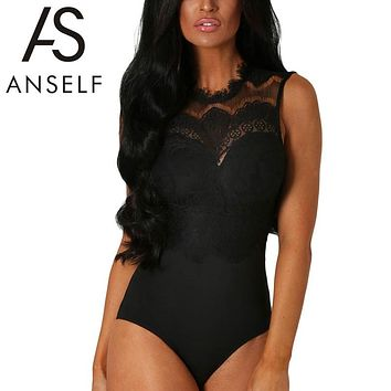 Anself Summer Lace Bodysuit Women Sheer Bodycon Jumpsuit Sexy Sleeveless Rompers Womens Jumpsuit Club Party Playsuit LC32050