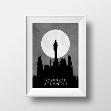 Stargate Atlantis at Night Poster, Atlantis Silhouette, Atlantis Night Sky