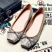 Summer Leather Alphabet Square Toe Flat Pregnant Shoes [4919952516]